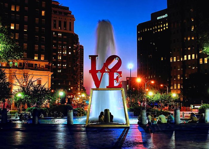 America Greeting Card featuring the photograph Love At Night by Nick Zelinsky