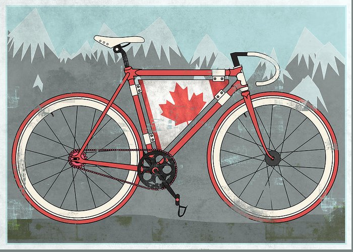 Canada Greeting Card featuring the digital art Love Canada Bike by Andy Scullion