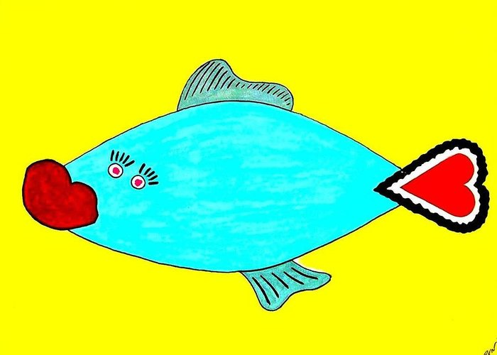 Love Greeting Card featuring the digital art Love-fish by Rodemondo Rocca