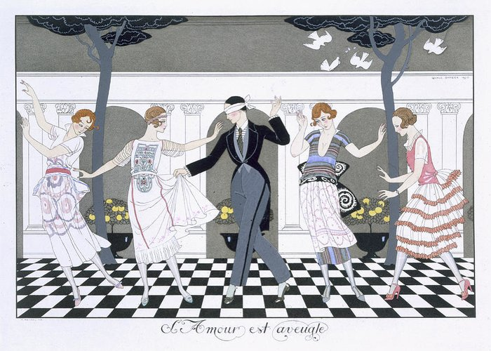 Print Greeting Card featuring the painting Love Is Blind by Georges Barbier