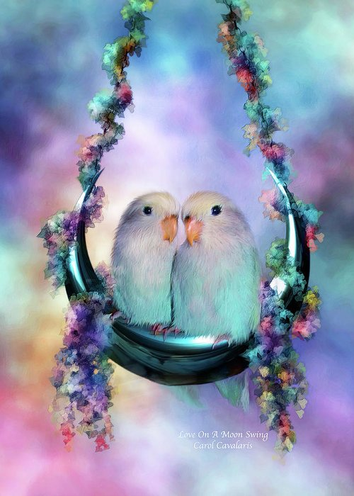 Lovebird Greeting Card featuring the mixed media Love On A Moon Swing by Carol Cavalaris