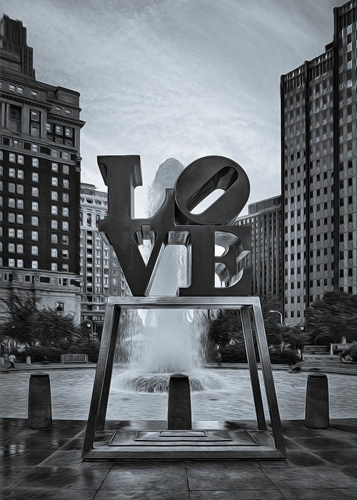 Love Greeting Card featuring the photograph Love Park Bw by Susan Candelario