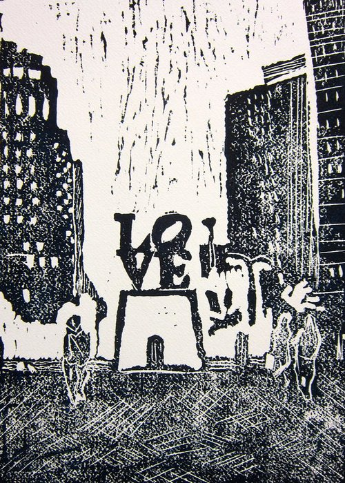 Love Park Greeting Card featuring the painting Love Park In Black And White by Marita McVeigh