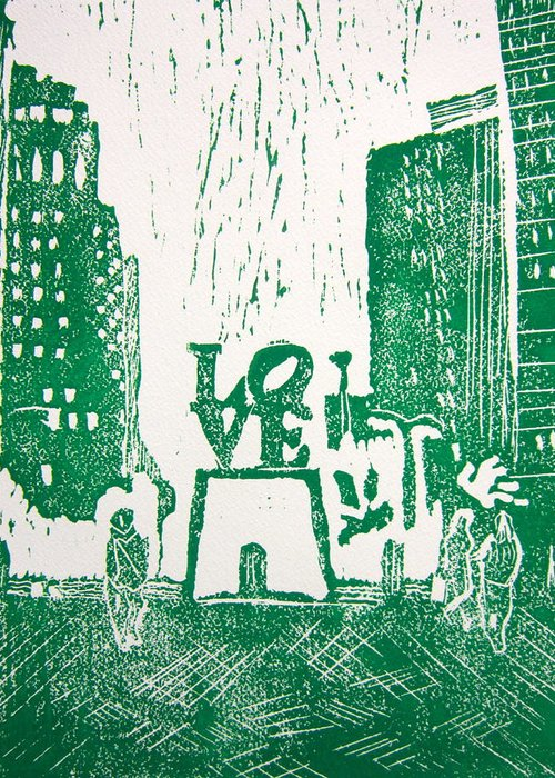 Linocut Greeting Card featuring the painting Love Park In Green by Marita McVeigh