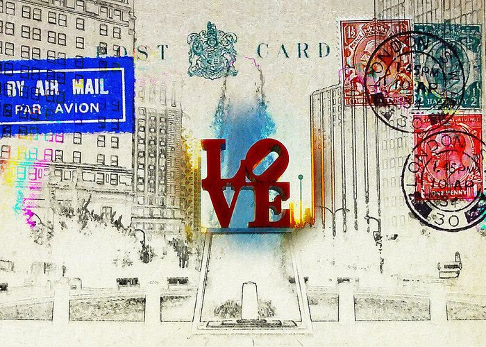Love Park Greeting Card featuring the photograph Love Park Post Card by Bill Cannon