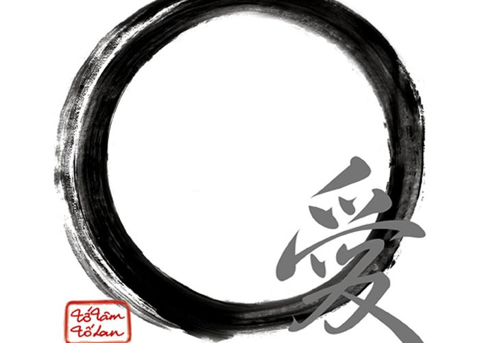 Live Greeting Card featuring the painting Love - Zen Enso by To-Tam Gerwe