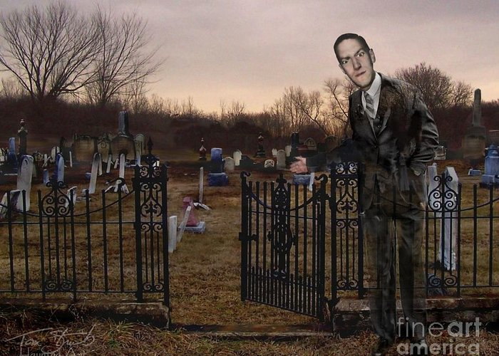 Howard Phillips Lovecraft Greeting Card featuring the photograph Lovecraft by Tom Straub