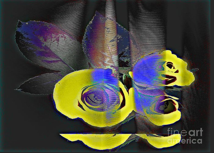 Yellow Rose Image Greeting Card featuring the digital art Lovely II by Yael VanGruber