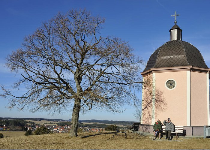 Chapel Greeting Card featuring the photograph Lovely Little Chapel And A Tree by Matthias Hauser