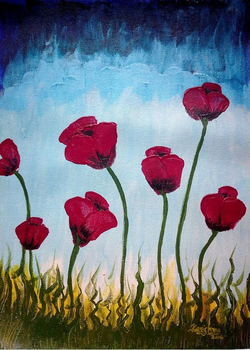 Poppies Greeting Card featuring the painting Lovely Poppies by KarishmaticArt -Karishma Desai