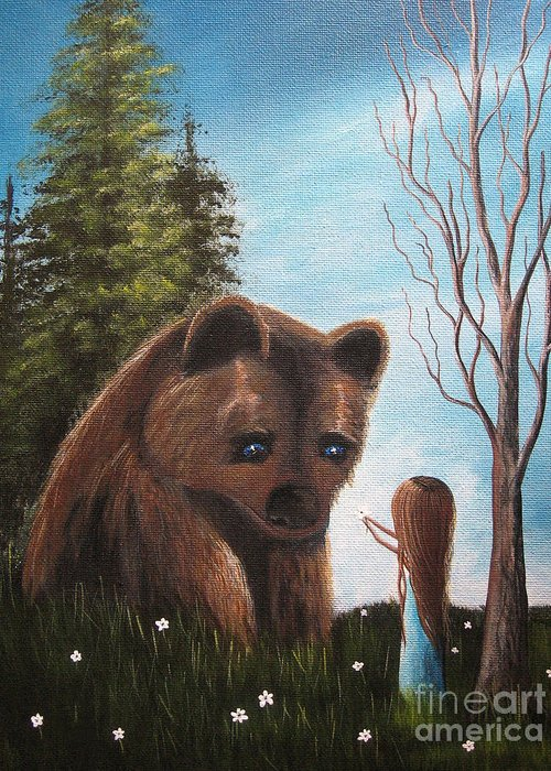 Bear Greeting Card featuring the painting Loving All God's Creatures By Shawna Erback by Shawna Erback