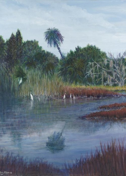 Landscape Greeting Card featuring the painting Low Country Social by Ben Kiger