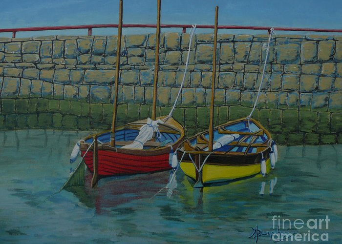 Rock Greeting Card featuring the painting Low Tide by Anthony Dunphy