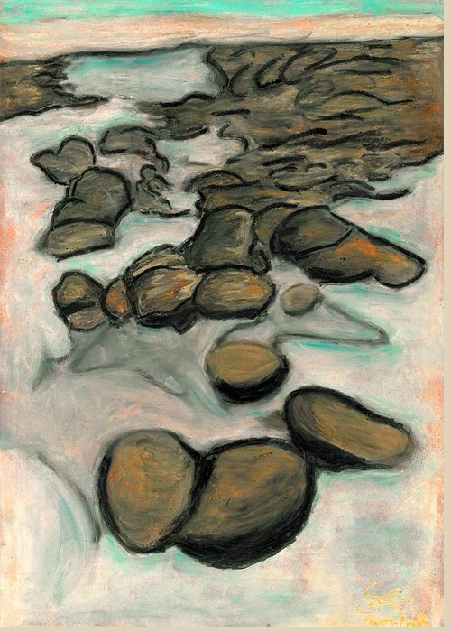 Low Tide Greeting Card featuring the painting Low Tide by Carla Sa Fernandes
