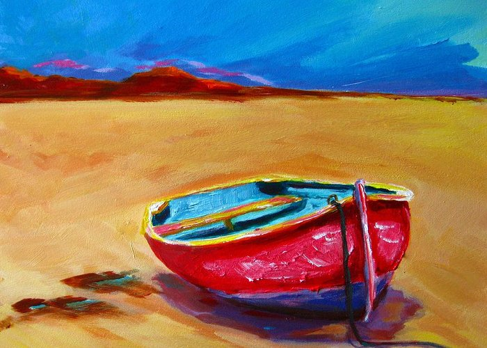 Art Greeting Card featuring the painting Low Tides - Landscape Of A Red Boat On The Beach by Patricia Awapara