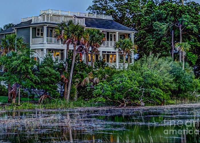 Lowcountry Home Greeting Card featuring the photograph Lowcountry Home On The Wando River by Dale Powell