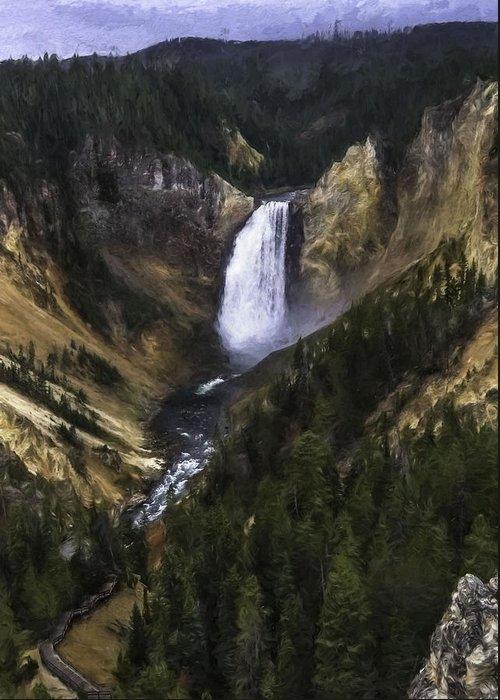 Lower Yellowstone Falls Greeting Card featuring the painting Lower Yellowstone Falls Fall by Barb Hauxwell