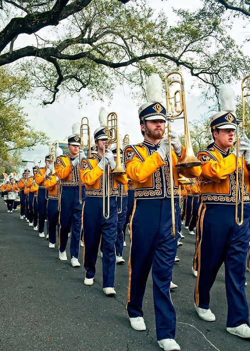 Lsu Greeting Card featuring the photograph Lsu Marching Band 3 by Steve Harrington