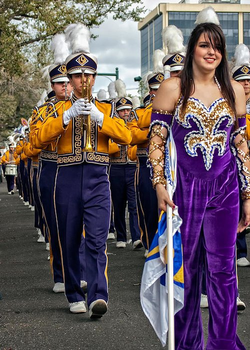 Lsu Greeting Card featuring the photograph Lsu Marching Band 5 by Steve Harrington