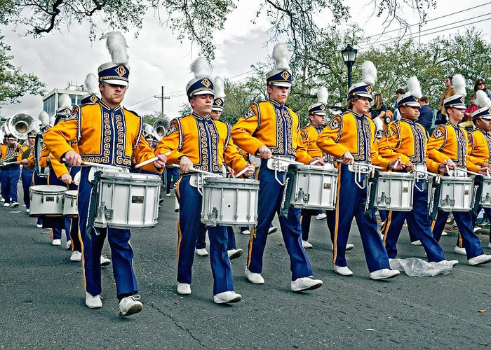 Lsu Greeting Card featuring the photograph Lsu Marching Band by Steve Harrington