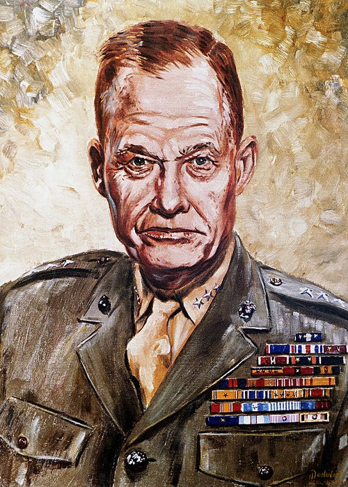 Lt. General Greeting Card featuring the painting Lt Gen Lewis Puller by Mountain Dreams