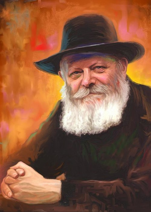 Lubavitcher Rebbe Greeting Card featuring the painting Lubavitcher Rebbe by Sam Shacked