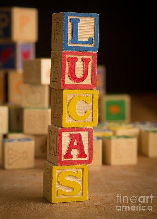 Alphabet Greeting Card featuring the photograph Lucas - Alphabet Blocks by Edward Fielding