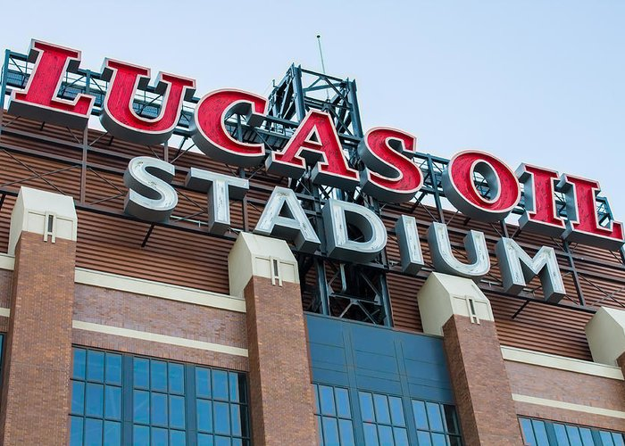 Indianapolis Greeting Card featuring the photograph Lucas Oil Stadium Sign by James Drake
