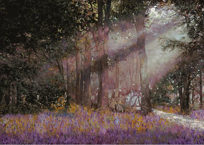Wood Greeting Card featuring the painting Luci by Guido Borelli