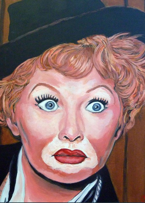 Lucy Greeting Card featuring the painting Lucille Ball by Tom Roderick