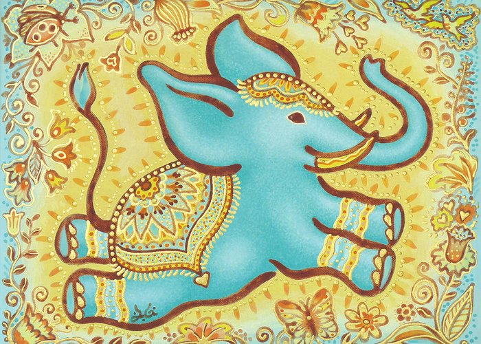 Lucky Elephant Turquoise Greeting Card featuring the painting Lucky Elephant Turquoise by Judith Grzimek