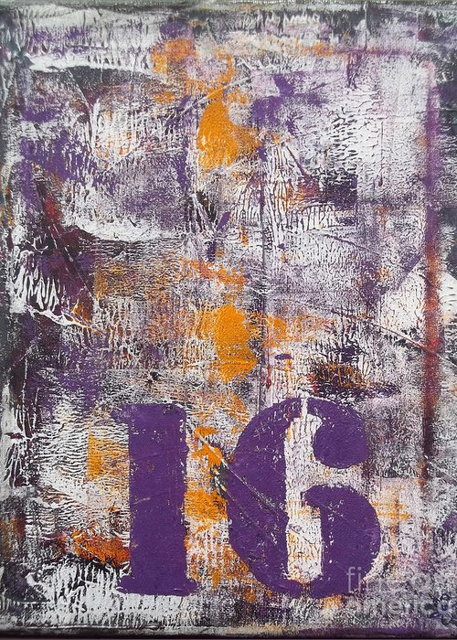 Abstract Painting Paintings Greeting Card featuring the painting Lucky Number 16 Purple Orange Grey Abstract By Chakramoon by Belinda Capol