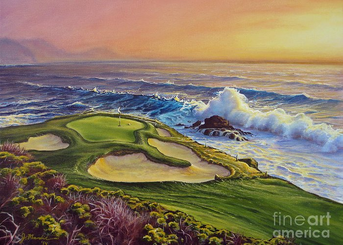Golf Greeting Card featuring the painting Lucky Number 7 by Joe Mandrick