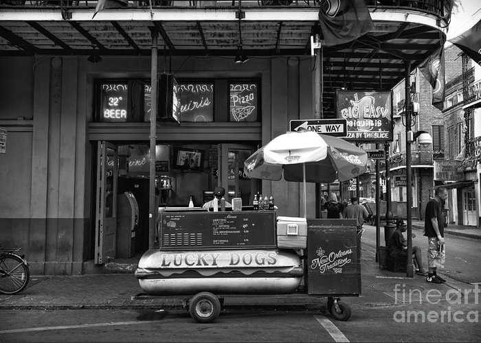 Lucky On Bourbon Street Greeting Card featuring the photograph Lucky On Bourbon Street Mono by John Rizzuto