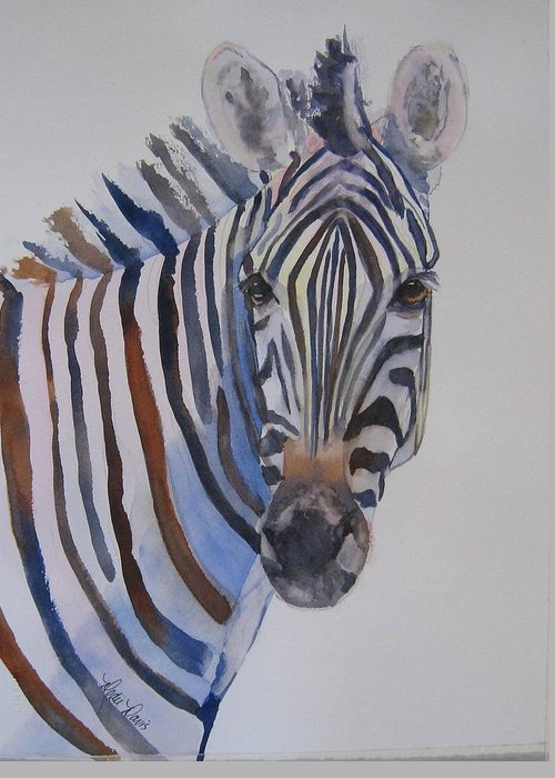 Greeting Card featuring the painting Lucky Stripe by Dodie Davis