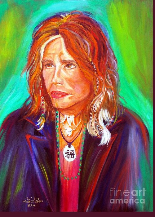 Steven Tyler Greeting Card featuring the painting Lucky by To-Tam Gerwe