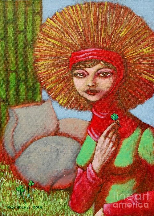 Paul Hilario Greeting Card featuring the painting Lucy by Paul Hilario