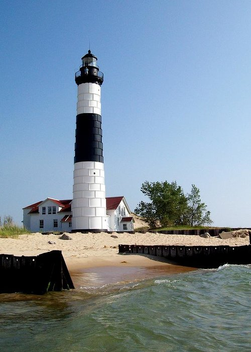 Lighthouse Greeting Card featuring the photograph Ludington Michigan's Big Sable Lighthouse by Michelle Calkins