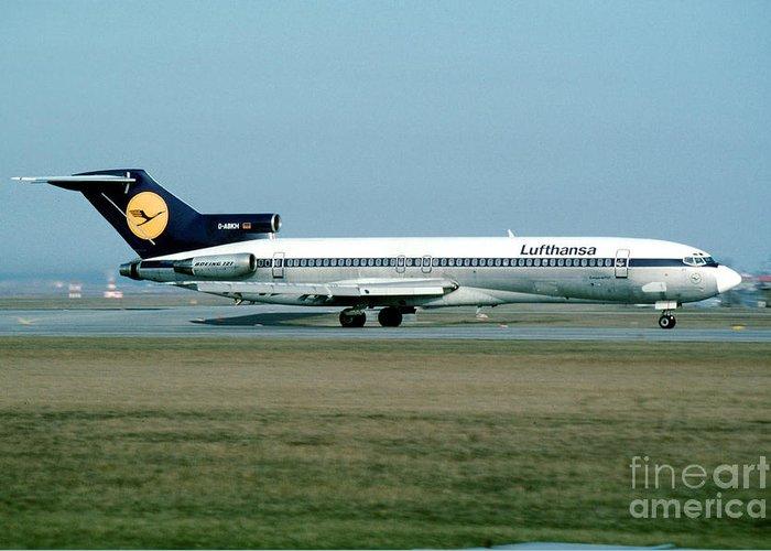 Boeing 727 Greeting Card featuring the photograph Lufthansa Boeing 727 by Wernher Krutein