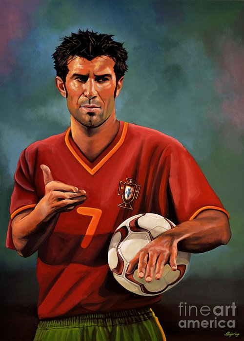 Luis Figo Greeting Card featuring the painting Luis Figo by Paul Meijering