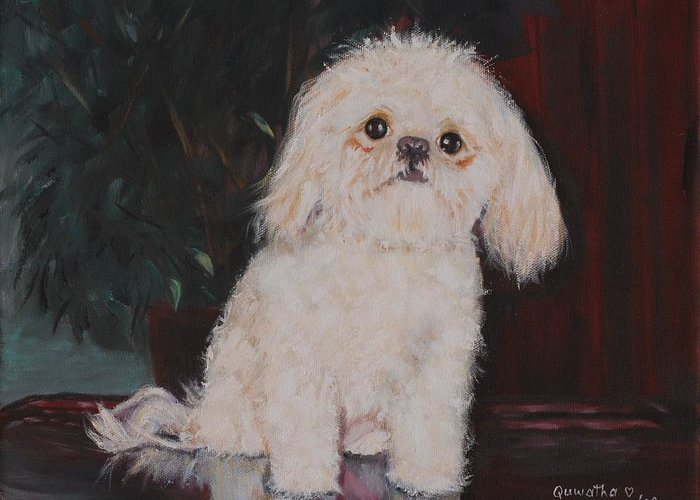 Dog Greeting Card featuring the painting Lulu by Quwatha Valentine