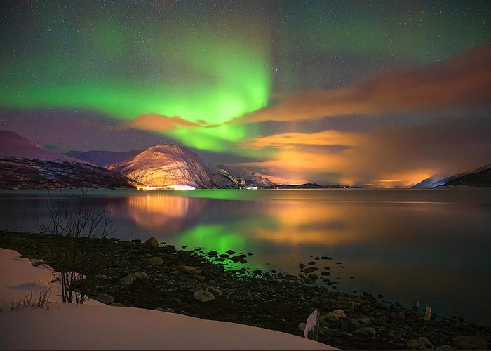 Aurora Greeting Card featuring the photograph Luminous Landscape by Anders Hanssen