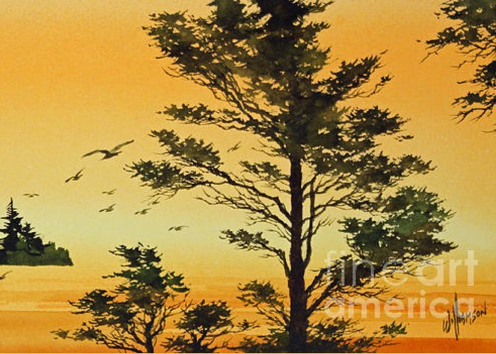 Sunset Greeting Card featuring the painting Luminous Sunset by James Williamson
