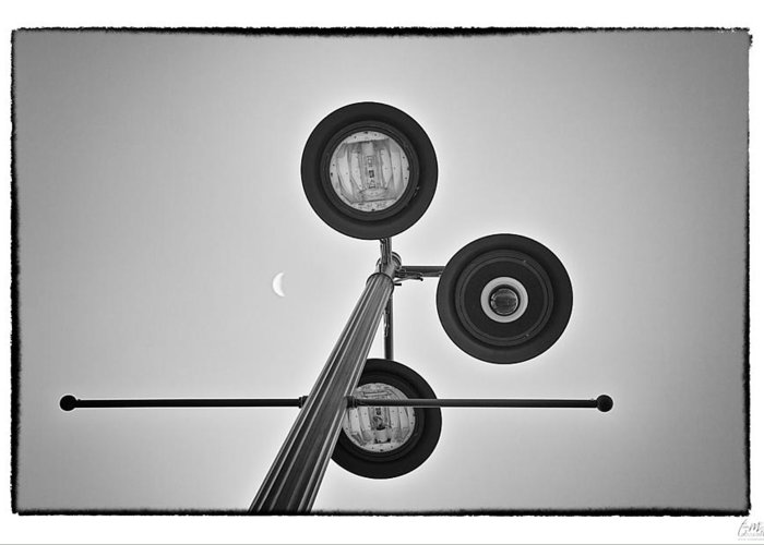 Grunge Greeting Card featuring the photograph Lunar Lamp - Art Unexpected by Tom Mc Nemar