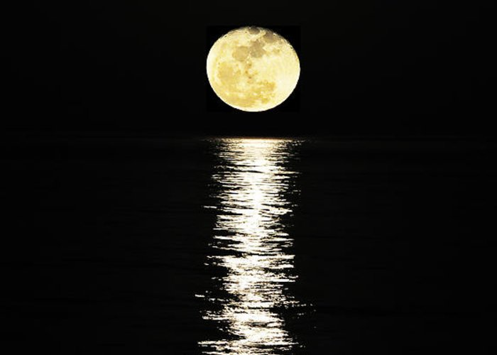 Moon Over Ocean Greeting Card featuring the photograph Lunar Lane by Al Powell Photography USA