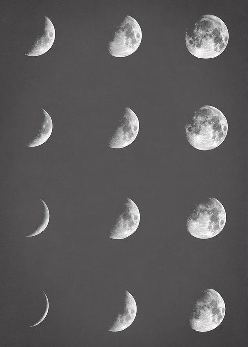 Moon Black White Greeting Cards