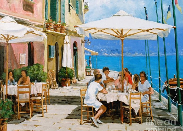 Portofino Greeting Card featuring the painting Lunch In Portofino by Michael Swanson
