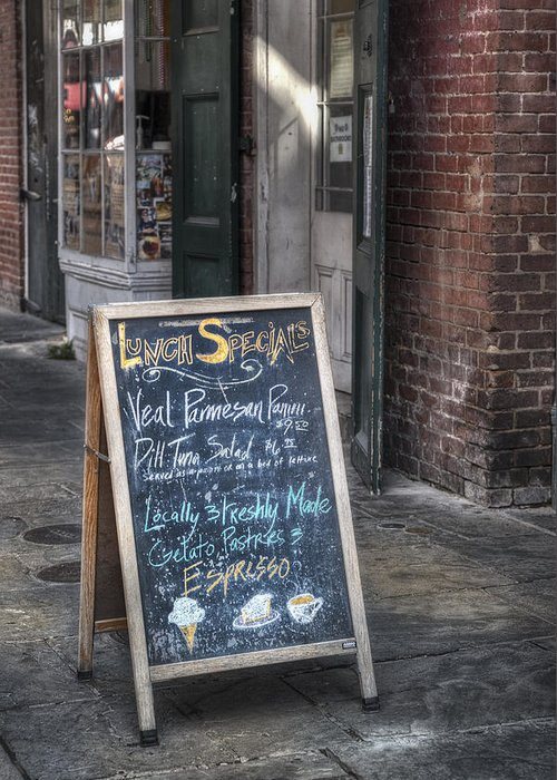 French Quarter Greeting Card featuring the photograph Lunch Specials by Brenda Bryant