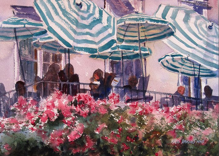 Kris Parins Greeting Card featuring the painting Lunch Under Umbrellas by Kris Parins