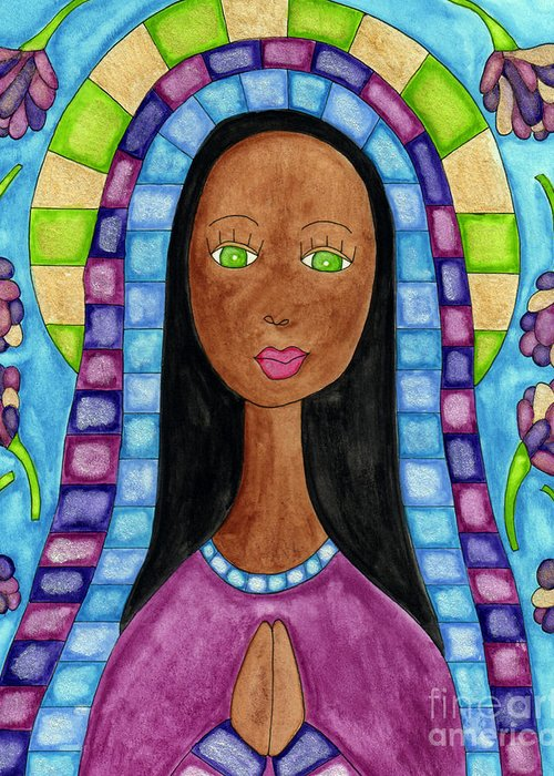 Greeting Card featuring the painting Lupita Aya Sofya With Flowers by Emily Lupita Studio